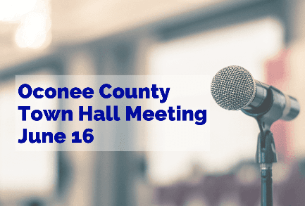 Town Hall Meeting June 16 with image of microphone