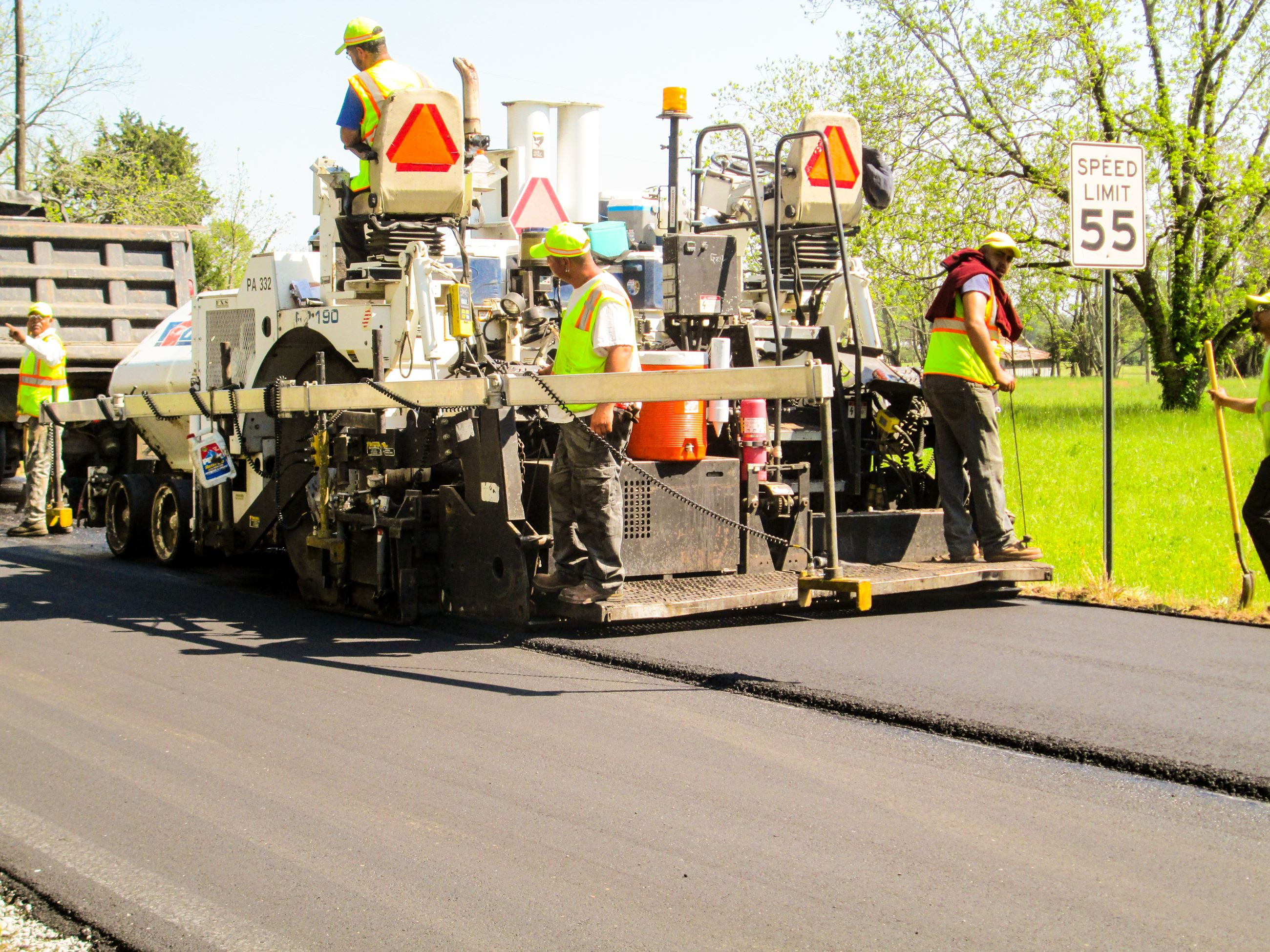 Photo of Public Works Personnel Paving a Road