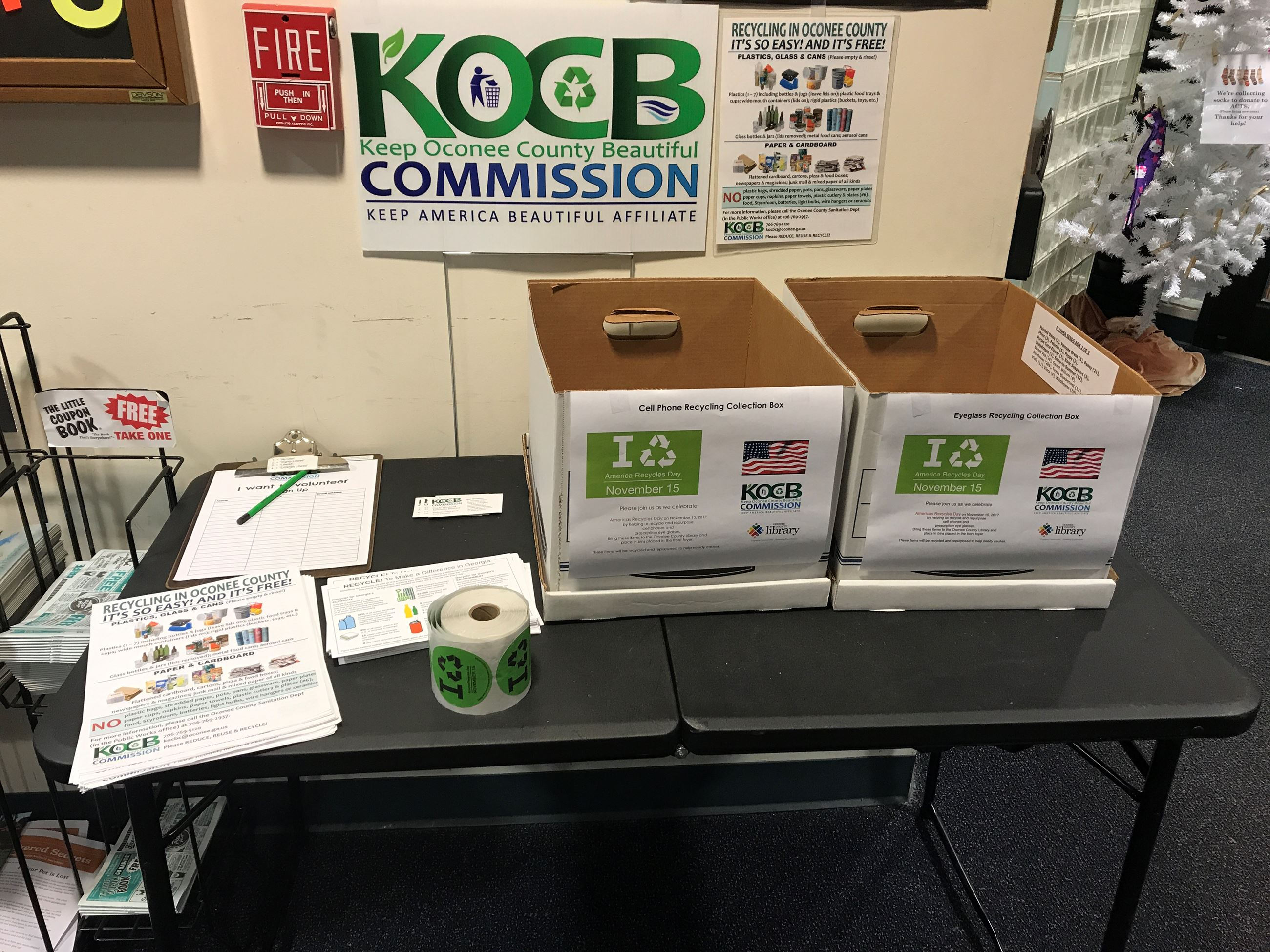 America Recycles Day table at the Oconee Library where YAC held monthly meetings